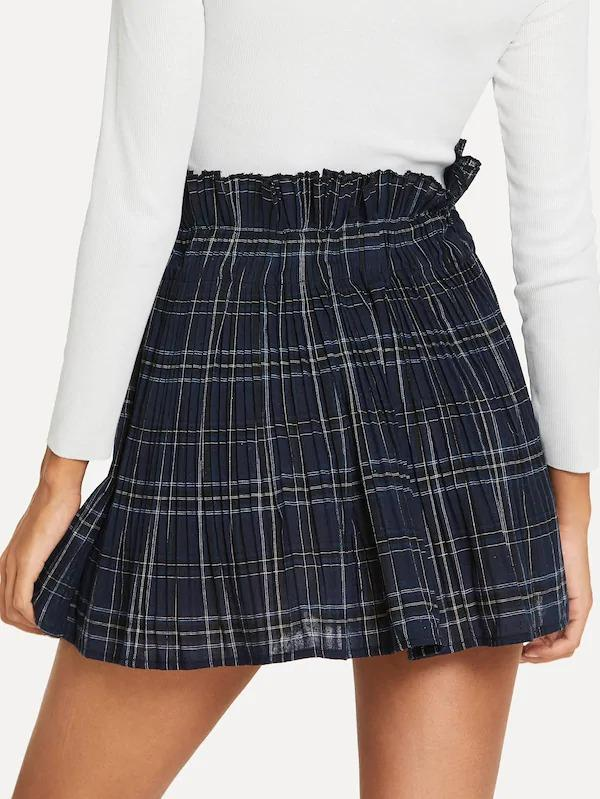 Frill Trim Plaid Skirt