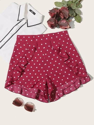 Women Frill Trim Polka Dot Shorts