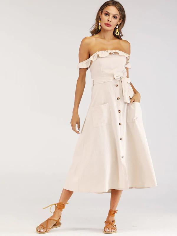 Frill Button Front Shirred Belted Bardot Dress