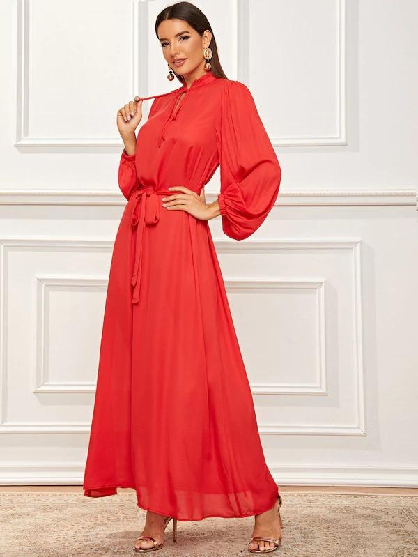 Frill Tie Neck Lantern Sleeve Belted Dress