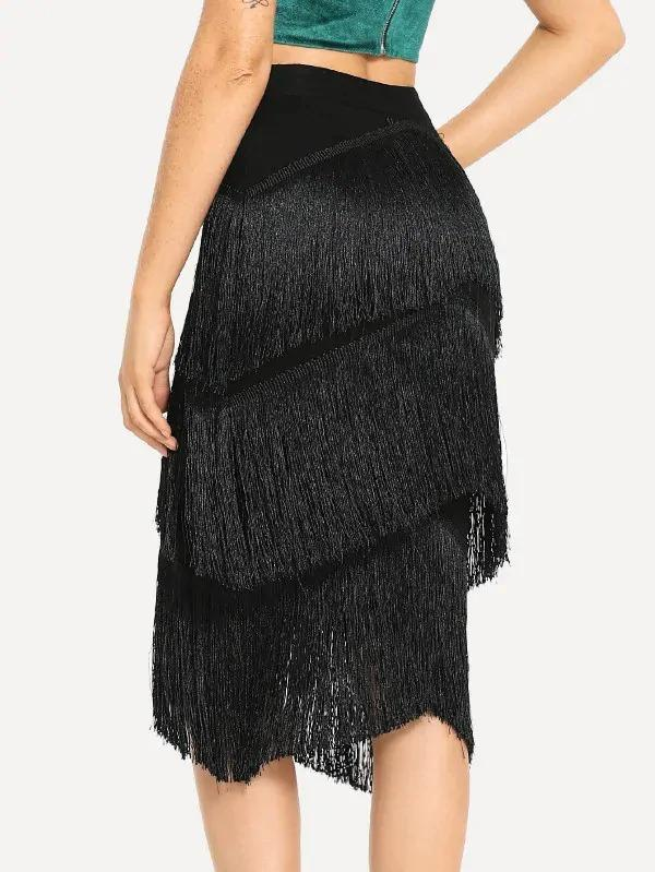 Fringe Detail Bodycon Skirt