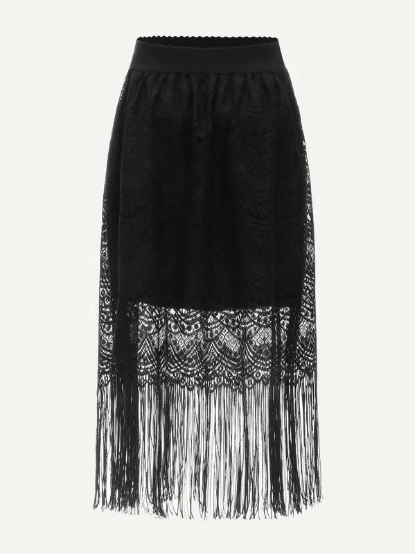 Fringe & Scalloped Lace Overlay Skirt