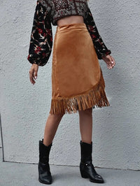 Women Fringe Hem Suede Wrap Skirt
