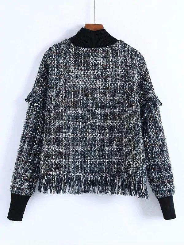 Fringe Hem Plaid Sweatshirt