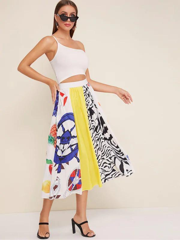 Fruit And Zebra Print Contrast Panel Pleated Skirt
