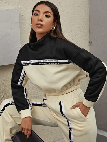Women Funnel Neck Slogan Tape Detail Colorblock Pullover