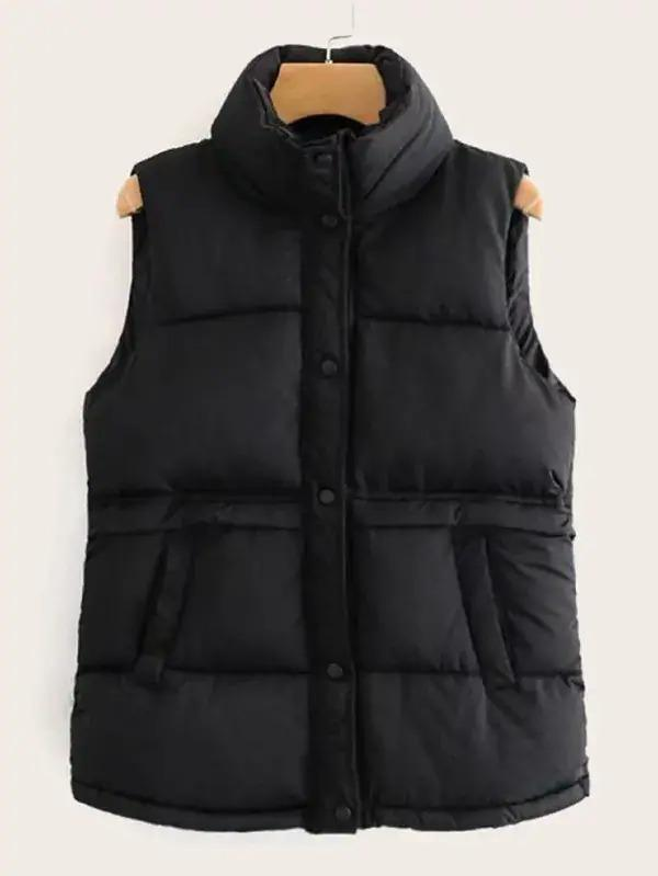 Funnel Neck Solid Puffer Gilet