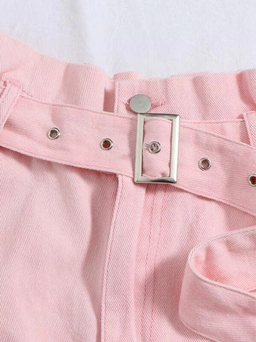 Women Garment Eyelet Belt Roll Up Hem Denim Shorts