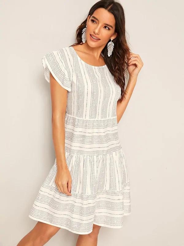 Geo Print Flutter Sleeve Ruffle Hem Dress