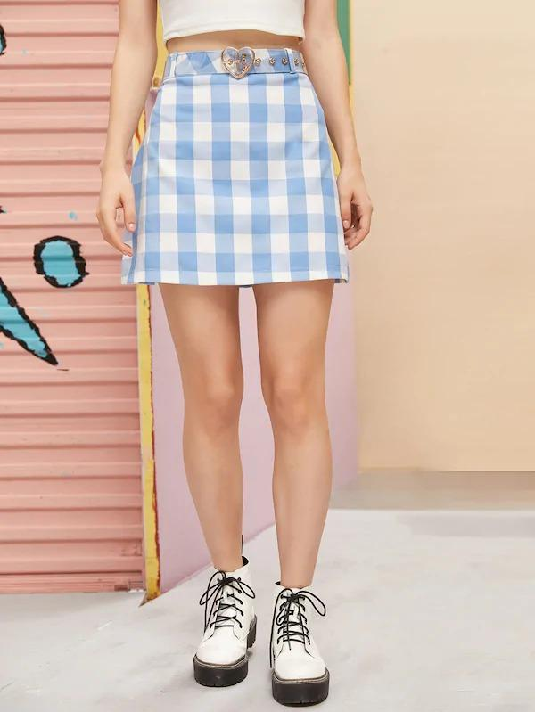 Gingham A-Line Skirt Without Belt