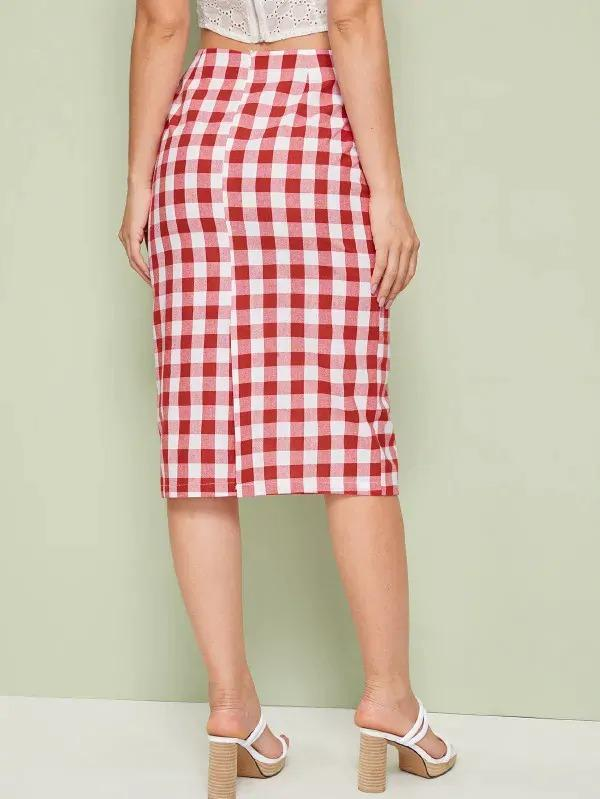 Gingham Print Zip Back Skirt