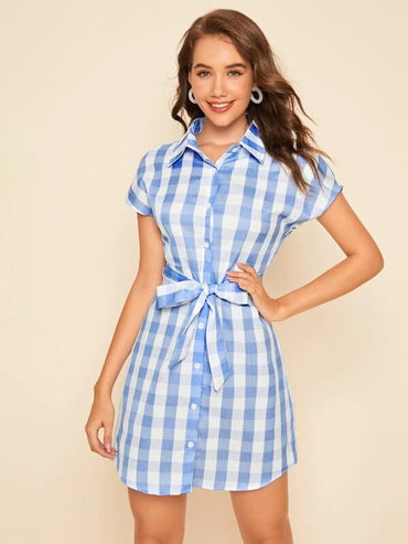 Women Gingham Button Front Belted Shirt Dress