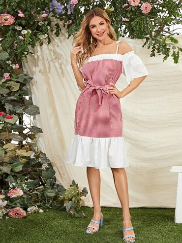 Women Gingham Cold Shoulder Belted Dress