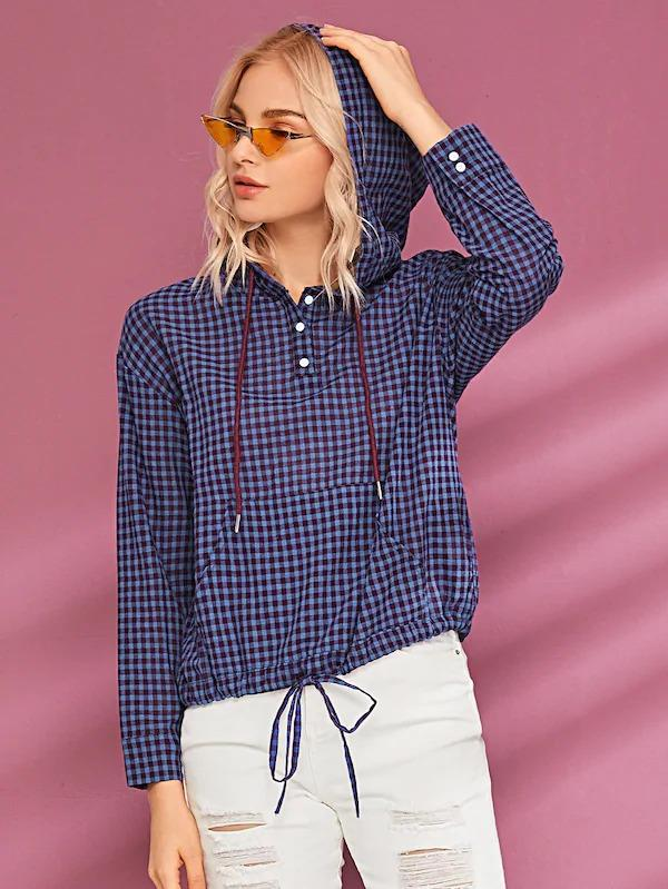 Gingham Button Front Drawstring Hoodie