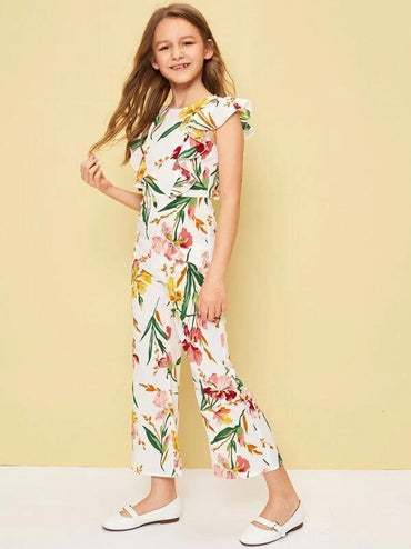 Girl Botanical Print Ruffle Trim Jumpsuit