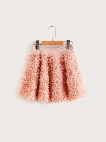 Girls 3D Applique Mesh Skirt