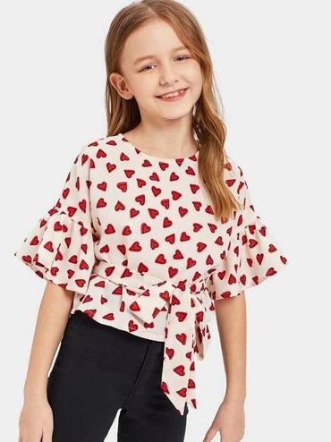 Girls Allover Hearts Print Flounce Sleeves Belted Top