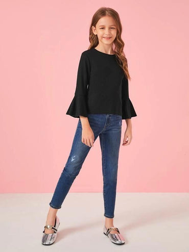 Girls Bell Sleeve Rib-Knit Tee