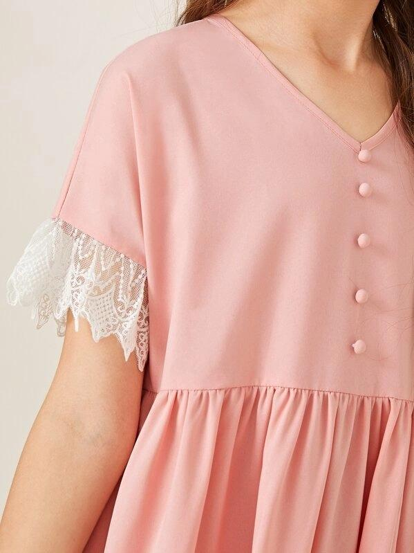 Girls Button Front Contrast Lace Trim Nightdress