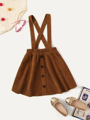 Girls Button Front Corduroy Pinafore Skirt