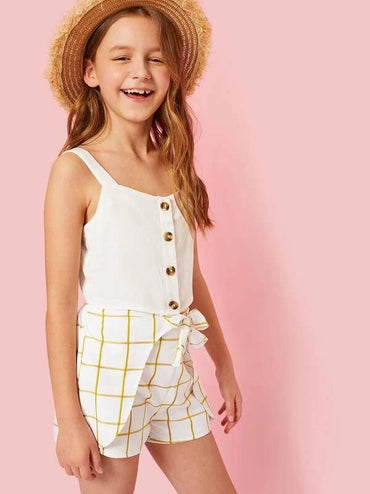 Girls Button Up Cami Top & Knot Grid Shorts Set