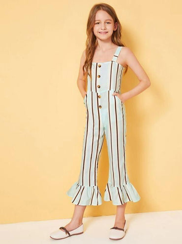 Girls Buttoned Front Ruffle Hem Striped Tank Jumpsuit