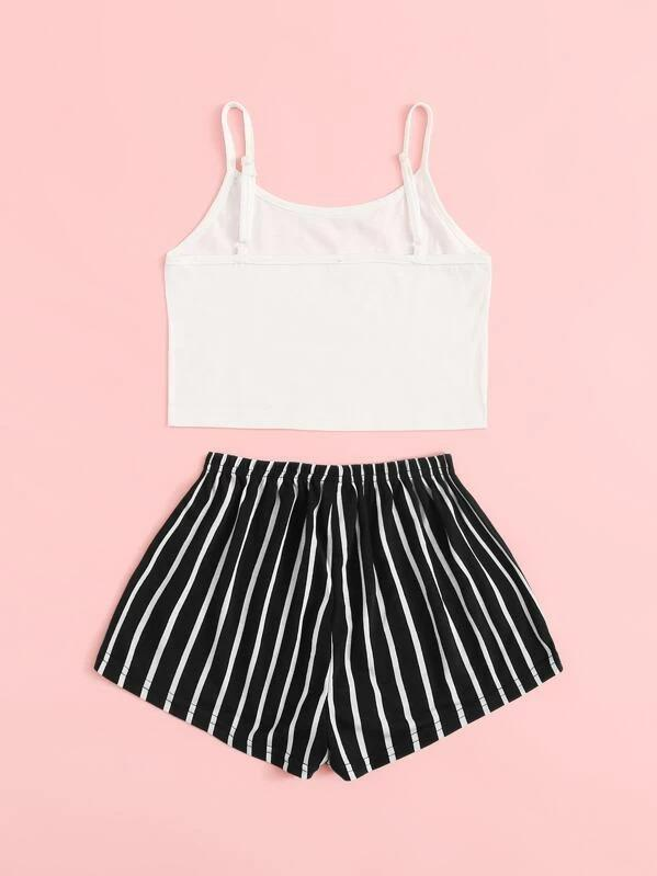 Girls Cami Top & Striped Shorts PJ Set