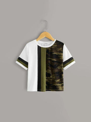 Girls Camo Colorblock Tee