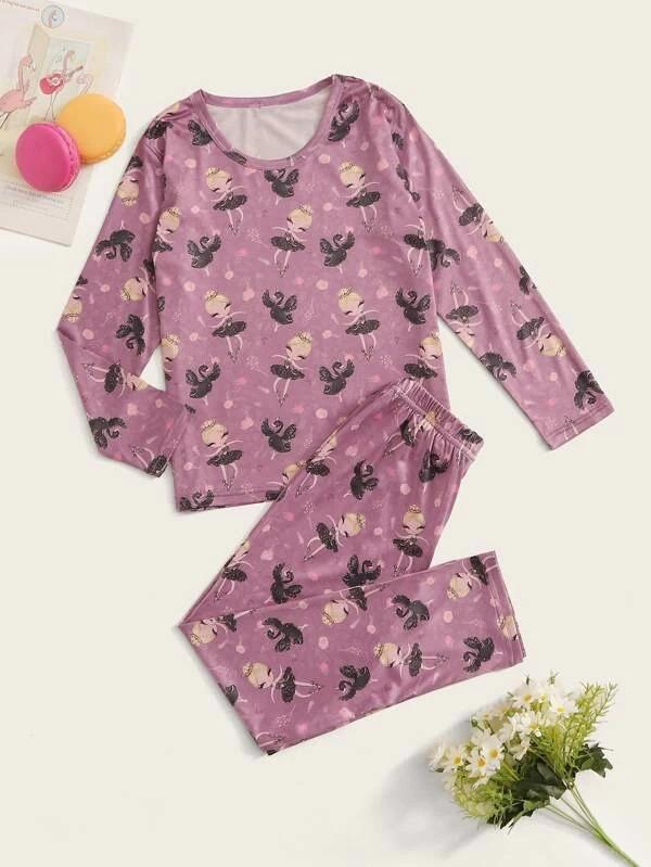Girls Cartoon Graphic PJ Set