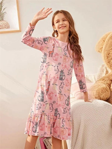 Girls Cartoon Graphic Ruffle Trim Night Dress