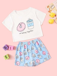 Girls Cartoon & Letter Graphic Pajama Set