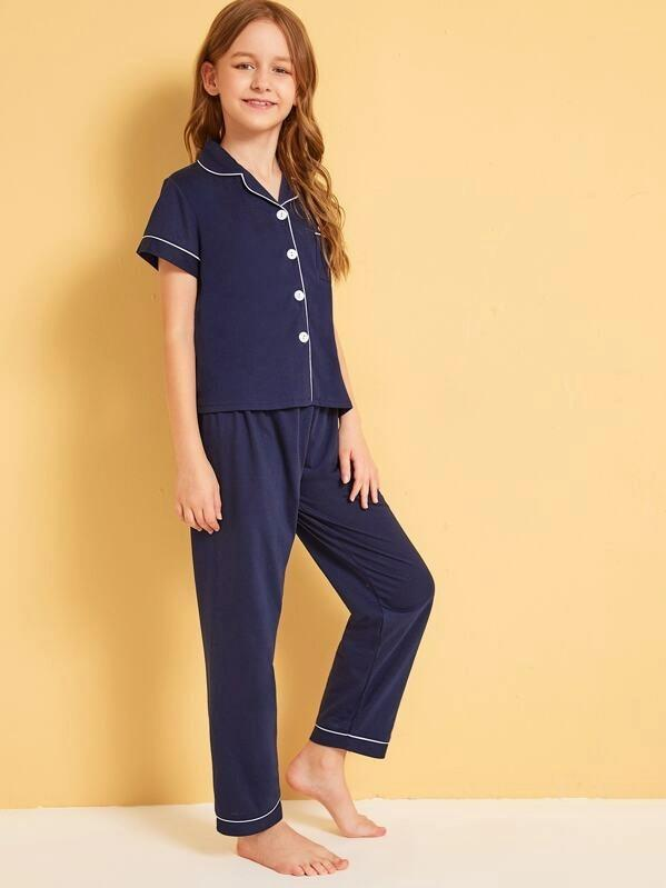 Girls Cat Patched Button-Up Pajama Set