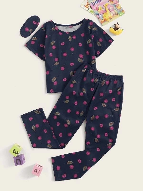 Girls Cherry Print PJ Set With Eye Mask