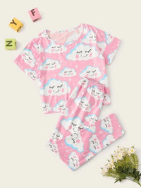 Girls Cloud Print PJ Set