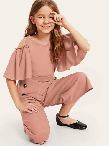 Girls Cold Shoulder Flutter Sleeve Double Breasted Jumpsuit