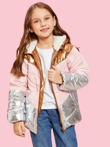 Girls Colorblock Metallic Padded Jacket