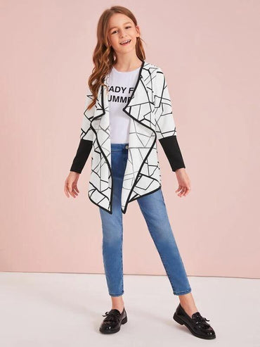 Girls Contrast Binding Geo Print Waterfall Coat