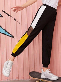 Girls Contrast Mesh Colorblock Pants