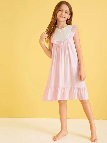 Girls Contrast Schiffy Insert Ruffle Trim Nightdress