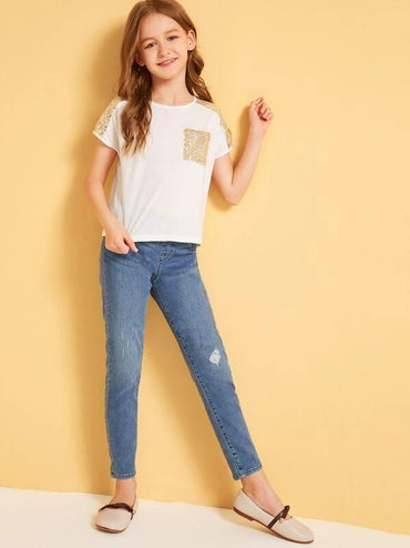 Girls Contrast Sequin Pocket Patched Tee