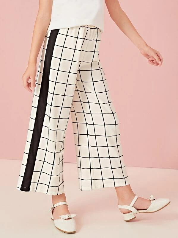 Girls Contrast Sideseam Wide Leg Grid Pants