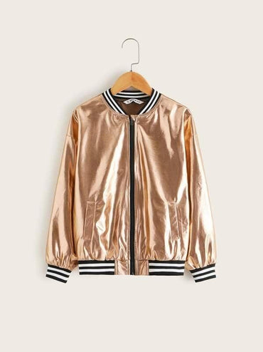 Girls Contrast Striped Trim Metallic Bomber Jacket