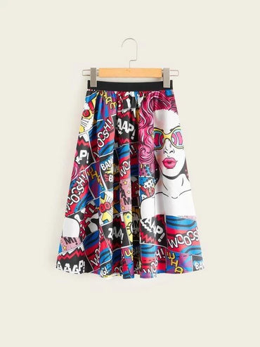 Girls Contrast Waist Allover Print Skirt