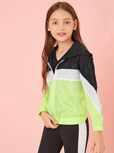 Girls Cut-And-Sew Zip Up Hooded Windbreaker Jacket