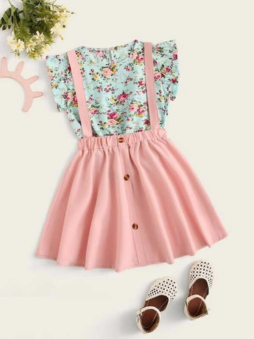 Girls Ditsy Floral Ruffle Top With Pinafore Skirt