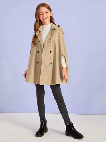 Girls Double Breasted Cape Trench Coat
