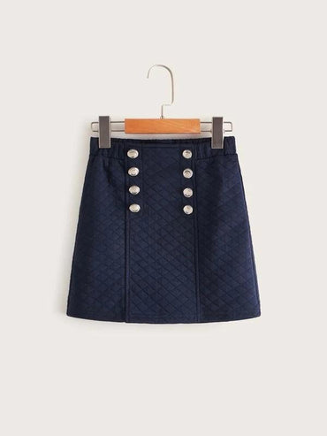 Girls Double Breasted Front Textured Skirt