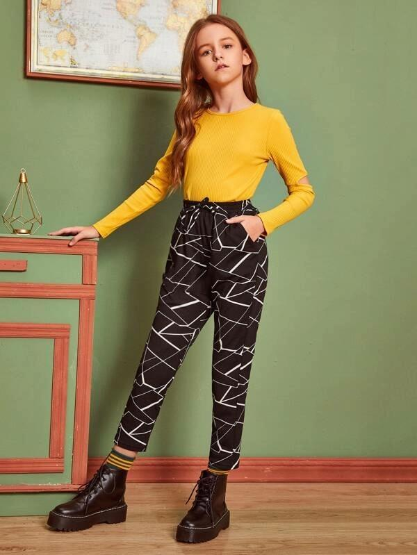 Girls Drawstring Waist Geo Print Pants