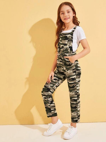Girls Drawstring Waist Pocket Detail Camo Print Jumpsuit
