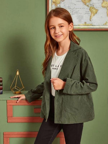 Girls Drawstring Waist Pocket Front Coat